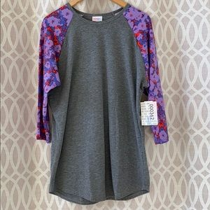 Lularoe randy xl gray and purple baseball tee